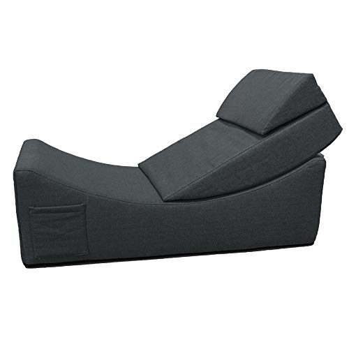 QSack Sitzbank Halbmond Sofa, Sitzhocker, Schaumstoffliege, Leseliege, Relaxliege, Schaumstoff Quader Würfel (Dunkelgrau)