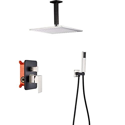 GLXLSBZ Sistema de Ducha Juego de Grifo de Ducha Negro Sistema de Cabezal de Ducha de Lluvia Cuadrado montado en el Techo con Juego de Ducha de Mano Rain M (Baño doméstico)