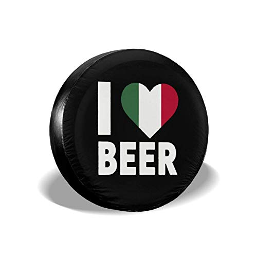 Beth-D Spare Tire Covers Ik hou van Italiaanse bier stof-proof waterdichte zon beschermers Wiel Cover Fit voor Rv, Suv, Trailer en veel voertuig 14-17inch