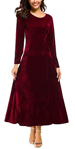 Urban CoCo Women's Elegant Long Sleeve Ruched Velvet Stretchy Long Dress (M, Wine red)