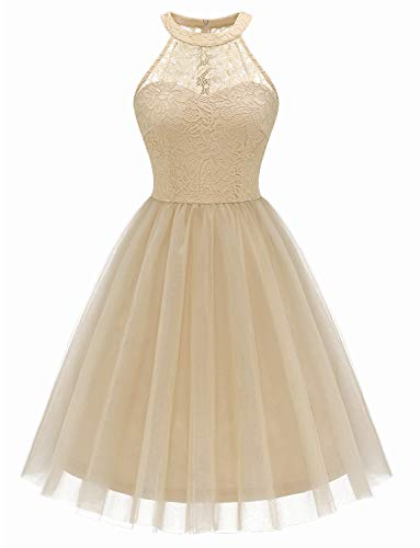 Dressystar Short Halter Prom Ball Gown Lace Tulle Evening Homecoming Dress 0068 Champagne L