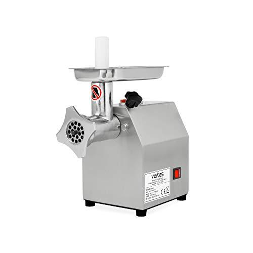 vertes Tritacarne elettrico in Acciaio Inox 250 W (fino 80 kg di carne/ora, Ideale anche per Insaccati, Alta Velocità di Lavoro; 4 Piedini in Gomma, Accessori in Dotazione)