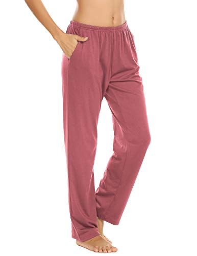 Pantalones de pijama para mujer, pantalones largos, pantalones de pijama, pantalones de pijama, pantalones de ocio, pantalones con dos bolsillos rojo claro XXL