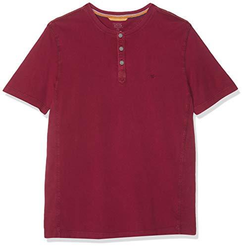 camel active Herren Henley 1/2 T-Shirt, Rot (Dark Red 42), Medium