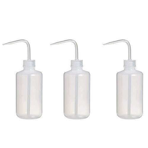 3 Pcs 250 ML Botella de Lavado, Botellas de Plástico para Lavar con Presión, Squeeze Wash Bottle, Botella Squeeze Wash Codo Translúcido Plástico para Laboratorio Tatuaje Wash Barber Shop