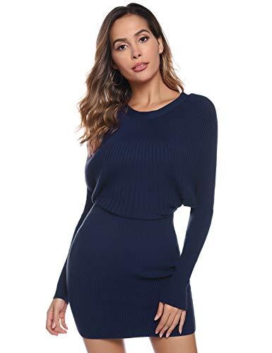 Aibrou dames elegante vleermuismouwen pulloverjurk lange mouwen gebreide jurk pullover mini jurk sweater vrijetijdskleding pullijurk gebreide trui jurk