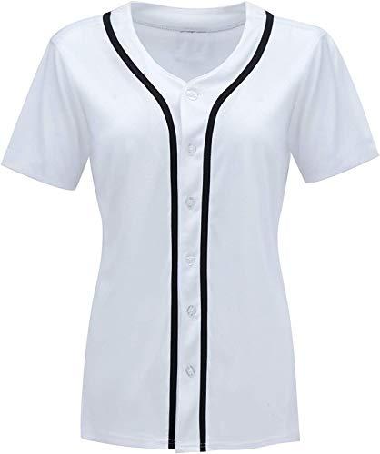 oldtimetown Womens Button Down Baseball Jersey, Blank Plain Softball Team Uniform, Hip Hop Hipster Short Sleeve Active Shirts (White/Black-01, Large)