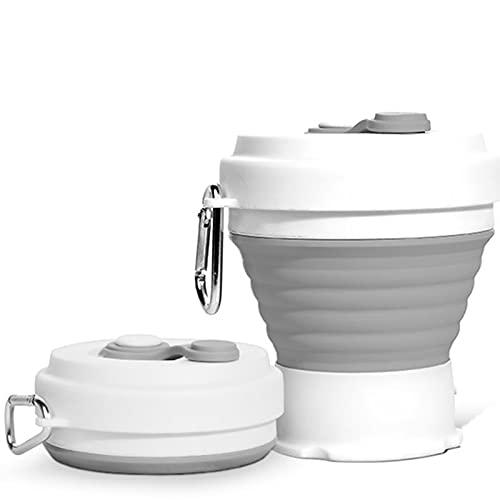klm Taza de café Ligera de Silicona Plegable, Taza Plegable Reutilizable Taza de Viaje a Prueba de Fugas Botella de Agua para al Aire Libre Camping Senderismo con Uso doméstico de Oficina, 2 P