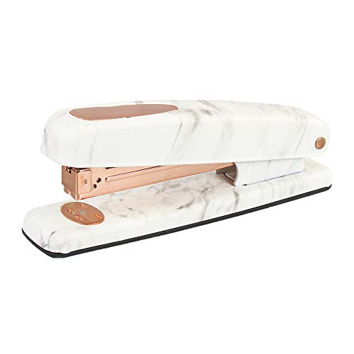 Marble Print Stapler Metal Rose Gold Desktop Manual Staplers 15 Sheets Capacity with Classic Modern Design and Non-Slip Base, Sleek Office School Desk Accessories Gift Idea (Marble White Style)