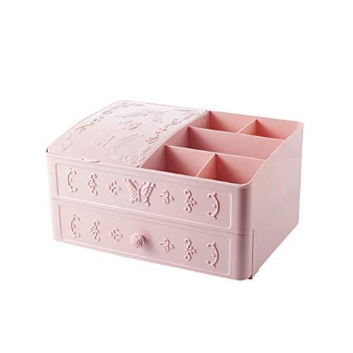 Boîte de rangement à deux tiroirs pour rouge à lèvres Compartiment cosmétique Support d'organisateur de bureau pour pinceaux de maquillage de bijoux (rose)