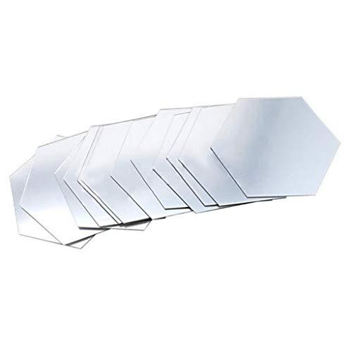 ADMMH Muursticker, 12 stuks, 3D spiegels, hexagon vinyl, afneembaar, wandtattoo, decoratie, kunst, doe-het-zelf, warme verkoop S zilver.