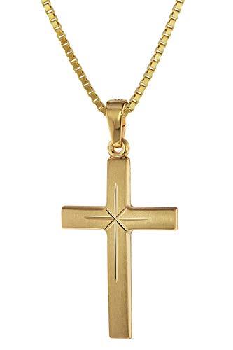 trendor Kreuz 24 mm Gold 333 (8 Karat) an Goldplattierter Kette Damen und Herren Halskette, Gold Anhänger, zeitloser Kreuz Anhänger aus Echtgold 75278-40 40 cm