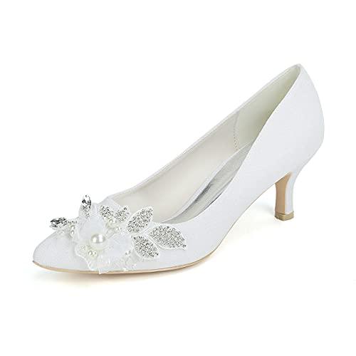 Sexy Zapatos de Tacón, Zapatos de Tacón para Mujer con Pedrería Perla...