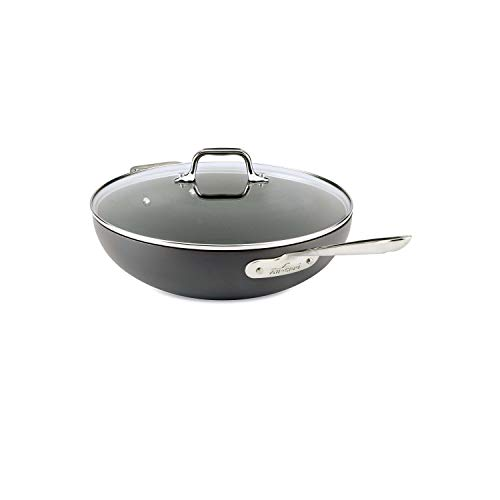 All-Clad E7859464 HA1 Hard Anodized Nonstick Dishwasher Safe PFOA Free Chefs Pan / Wok Cookware, 12-Inch, Black