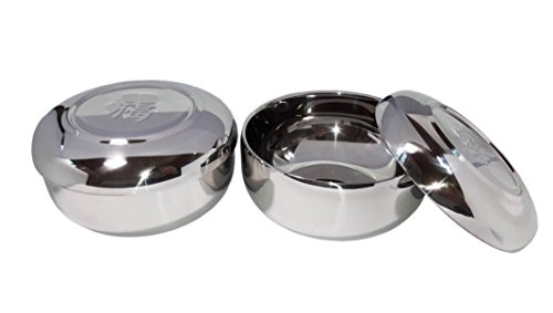 2sets Vacuum Insulated Double Wall Skin Stainless Steel Good Fortune Korean Traditional Rice Bowl with Lid