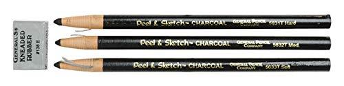 Generals 5630ABP Peel and Sketch Charcoal Pencil, Black