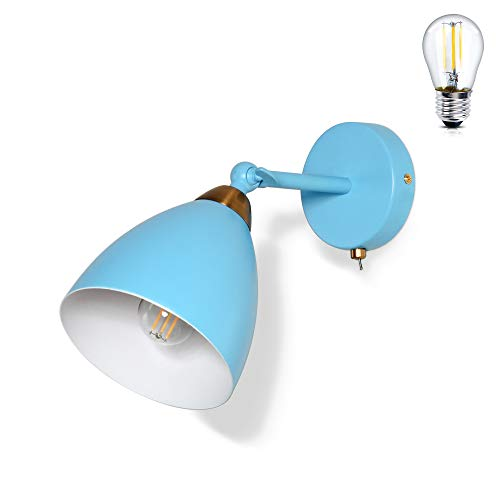 MantoLite Lámpara de Pared Con Interruptor Apliques de Pared Modernos Retro Industrial de Metal Art Deco E27 Base Para Dormitorio, Cocina, Restaurante, Cafetería, Pasillo (Azul, Bombilla Incluida)