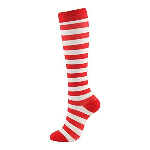 Yjswkfi Weihnachtssocken Weihnachten Compression Hohe Strümpfe Damen Herren Druck Socken Compress Sport Muster Lauf Knee High Nylon Run Socken (Color : 67 Red White Stripes, Size : L XL)