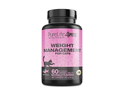 PureLife 4PETS Weight Management Supplement for Overweight Cats - Formulated to Support a Healthy Appetite and Burn Off Fat - 60 Naturally Flavored Chewable Tablets, NASC Certified - Made in The USA