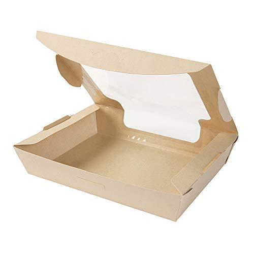 """BIOZOYG Box Take Away aus Bambusfasern I schöne Kartonschachtel """"Tree Free mit großem Sichtfenster - nassfest auslaufsicher kompostierbar I 50 St. Patisserieschachteln Geschenkboxen 1000ml"""