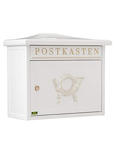 BURG-WÄCHTER Klassischer Briefkasten (mit Komfort-Tiefe, A4 Einwurf-Format, Verzinkter Stahl, Sylt 1883 W) weiß