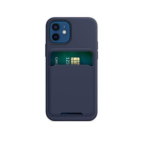 FRTMA Soporte magnético para tarjetas compatible con iPhone 12/Pro/Max/Mini, funda de silicona magnética para MagSafe (marino)