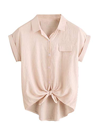 Milumia Women Casual V Neck Collar Knot Hem Button Down Rolled Cuff Short Sleeve Work Blouses Shirt Tops Light Pink Small