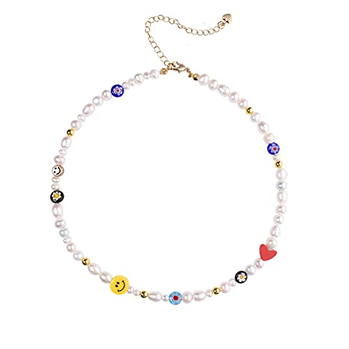 Beaded Necklace Beaded Choker Necklace Women Smiley Face Pearl Necklace Y2K Boho Freshwater Happy Go Lucky Necklace Cute Summer Fun Flirty Beach Jewelry Gifts for Teen Girls
