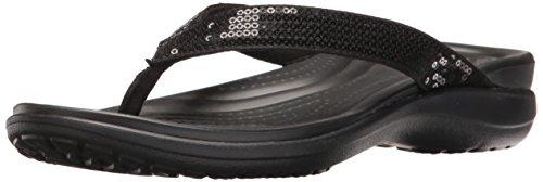 Crocs Capri V Sequin Flip, Damen Zehentrenner, Schwarz (Black), 39/40 EU