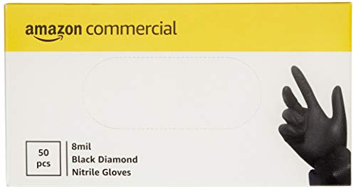 AmazonCommercial Powder Free Disposable Nitrile Gloves, 8 mil, Black, Diamond Textured, Size XL 240mm, 50 per Pack