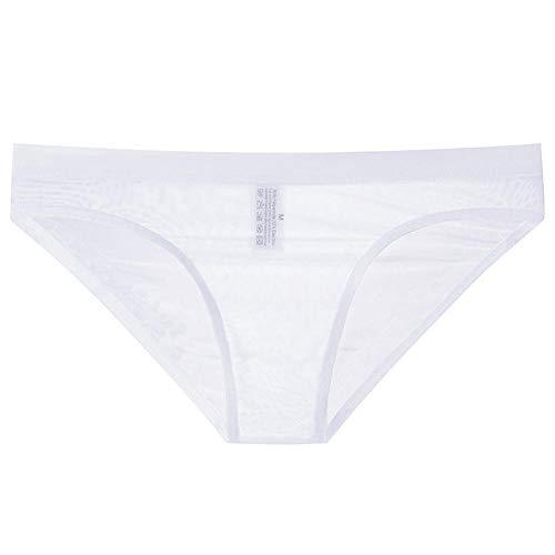 B/H Hombres Ropa Interior EróTica Tanga,Tanga Ajustada Sexy de Malla Transparente Sexy Desnuda para Hombre-White_XX-Large,