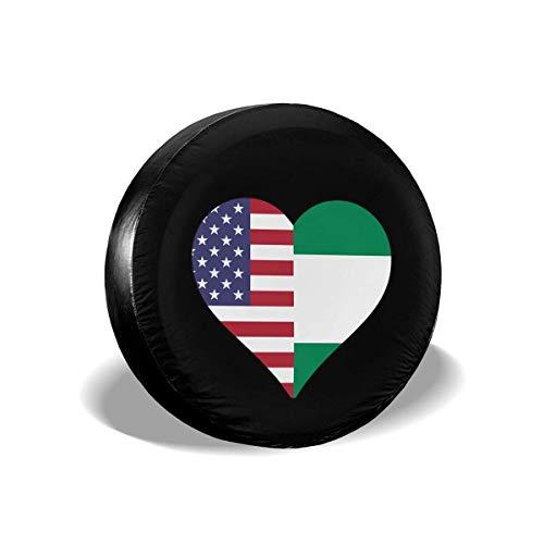 WCHAO La Mitad de la Bandera de Nigeria La Mitad de la Bandera de los Estados Unidos Amor Corazón Tipo de neumático de Repuesto Cubierta de Rueda Ajuste Universal