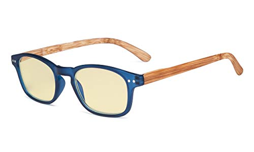 Eyekepper Blue Light Blocking Computer Glasses - Yellow Filter Lens Eyeglasses with Bamboo-Look Temples - Blue Frame