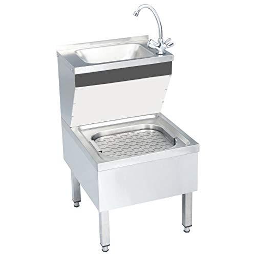 vidaXL Gastro Handwaschbecken mit Wasserhahn Freistehend Gastronomie Waschtisch Waschbecken Spülbecken Gastrobecken Ausgussbecken Edelstah