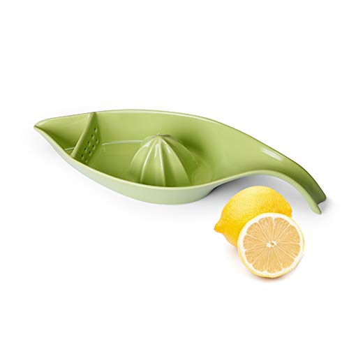 SWEEJAR Ceramic Citrus Juicer Stoneware Lemon Squeezer with Boat Shape Manual Fruit Reamer Green