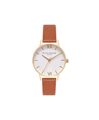 Olivia Burton Damen Analog Japanisch Quarz Uhr mit Echtes Leder Armband OB16MDW09