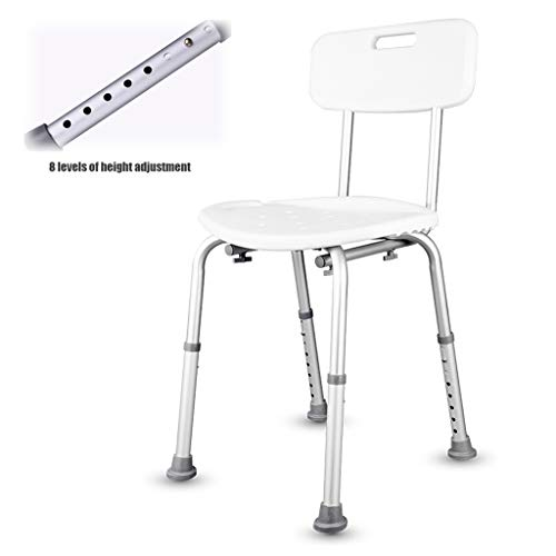 Douchestoel, in hoogte verstelbaar Antislip badkuip van aluminiumlegering met afvoergat en rugleuning - voor ouderen Senior gehandicapte