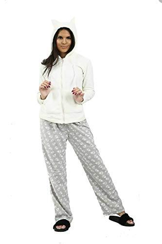 FunkyFashion Dames Zachte Gezellige Winter Pyjama Volledige Zip Hooded Top Warm Jas Womens Nachtkleding PJs Comfy Pajama Slaapmode Set 2 Stuks UK 6-20