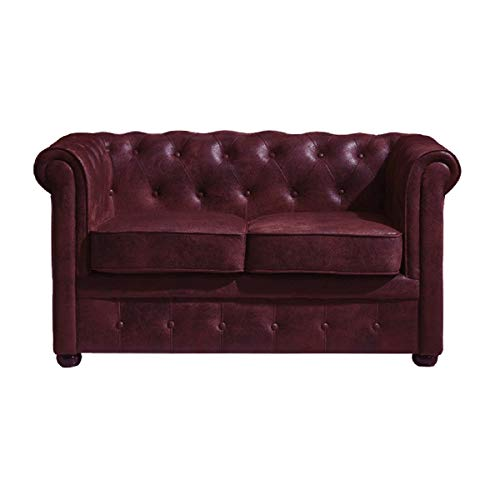 Italian Design - Sofá Chester Burdeos, sofá 2 plazas - Sofá Chesterfield Color Burdeos, Medidas: 132x71x77 cm