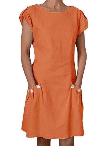 Yidarton Damen Kleider Leinen Strandkleider Elegant Casual A-Linie Kleider Ärmellos Sommerkleider,Orange,M