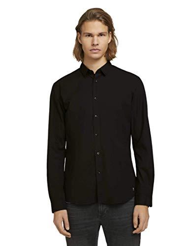 TOM TAILOR Denim Herren Basic Hemd, 29999-Black, XL