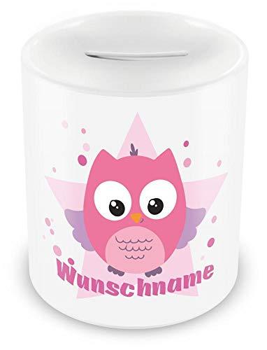 Samunshi® Kinder Spardose mit Namen und Rosa Eule als Motiv für Kinder - Jungen und Mädchen Sparschwein weiß