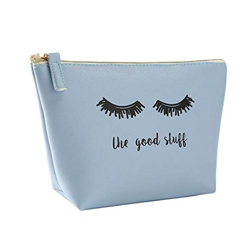 UKKO Sac Cosmétique Sac À Cosmétiques Pour Femmes Pu Make Up Bag Wash Voyage Culture Kit Organisateur Beauté Cas,Bleu