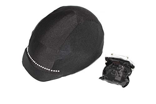 KLES CLASS Reithelmüberzug Design Streifen Strass Equestrian Hat Cover., Schwarz