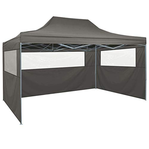 Tidyard Pop-up Party Tent with 4 Sidewalls | Steel Frame Folding Gazebo Tent | Garden Waterproof Canopy 3x4 m Anthracite