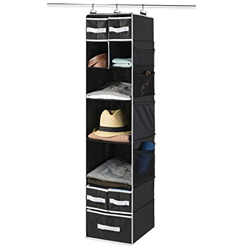 9-Shelf Hanging Wardrobe Storage Organiser With Drawers - Breathable Nursery Hanging Storage Shelves - Baby Wardrobe Clothes Storage Closet - Adjustable Cubes, Hanging Underwear Storage Organiser