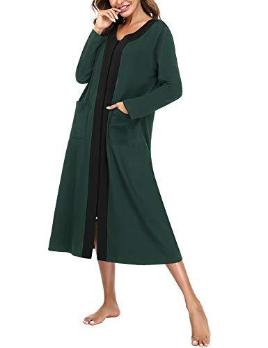 Aibrou Bademantel Damen mit Reißverschluss, Lange Morgenmantel Nachthemd Nachtwäsche mit Taschen Flauschig Weiche Gemütliche Robe