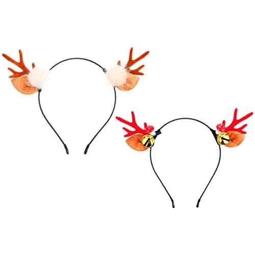 Homoyoyo 2Pcs Alce Animal Orejas Astas Diadema Elk Reno Pelo Aro Xmas Tocado con Campana Pom Pom Cosplay Sombreros Regalo para Adolescentes Niña Mujer Niño