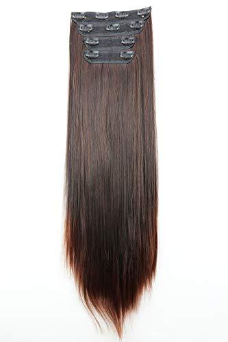 PRETTYSHOP XXL 60cm 4 Teile Set CLIP IN EXTENSIONS Haarverlängerung Haarteil Voluminös Glatt Dunkelbraun CES309