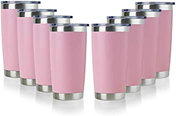 8-Pack Domicare 20oz Stainless Steel Tumbler with Lid